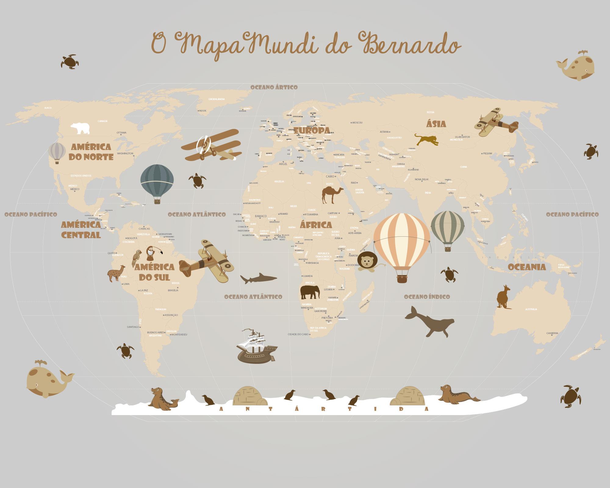 Artesanato Garrafa Pet Para O Natal ~ Papel de Parede Mapa Mundi Infantil, para crianças de todas as idades