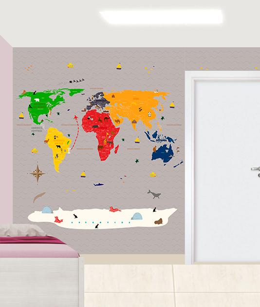 Aplicação do Papel de Parede Mapa Mundi 18-F