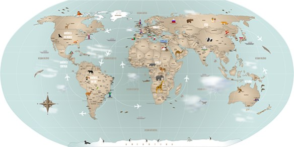 Papel Parede Mapa Mundi Modelo 18-H vs oval