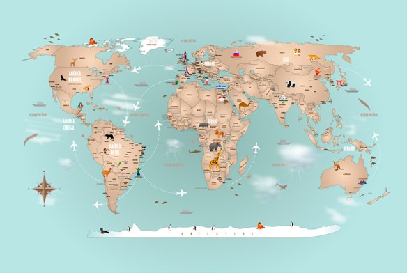 Papel de Parede Mapa Mundi Completo Modelo 18-H