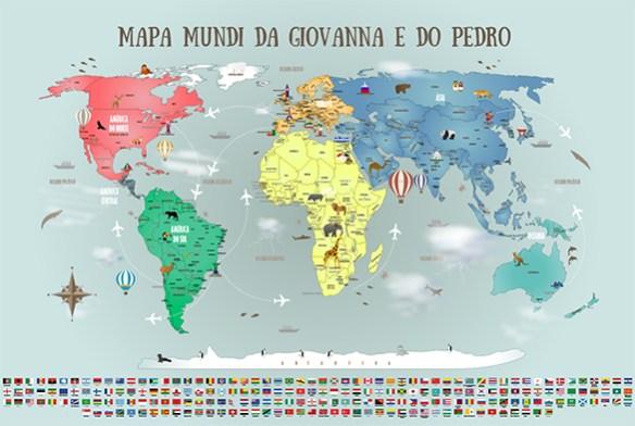 Papel de Parede Mapa Mundi Completo Modelo 18-H2