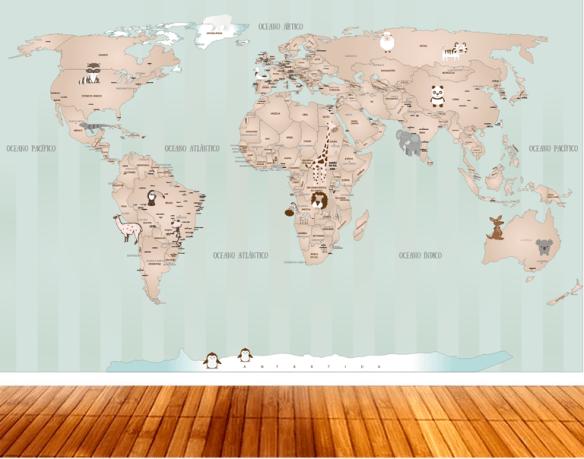 papel de parede mapa mundi 18i aplicado quarto bebe