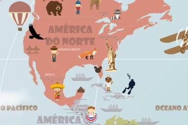 Mapa Mundi Viagens - América do Norte e Central