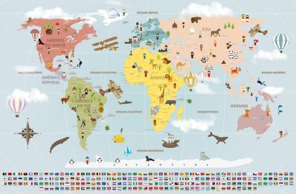 papel de parede mapa mundi viagens