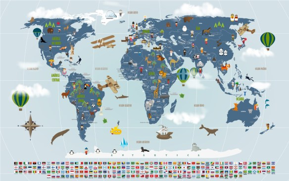 Papel de Parede Mapa Mundi viagens mod. 19-A2