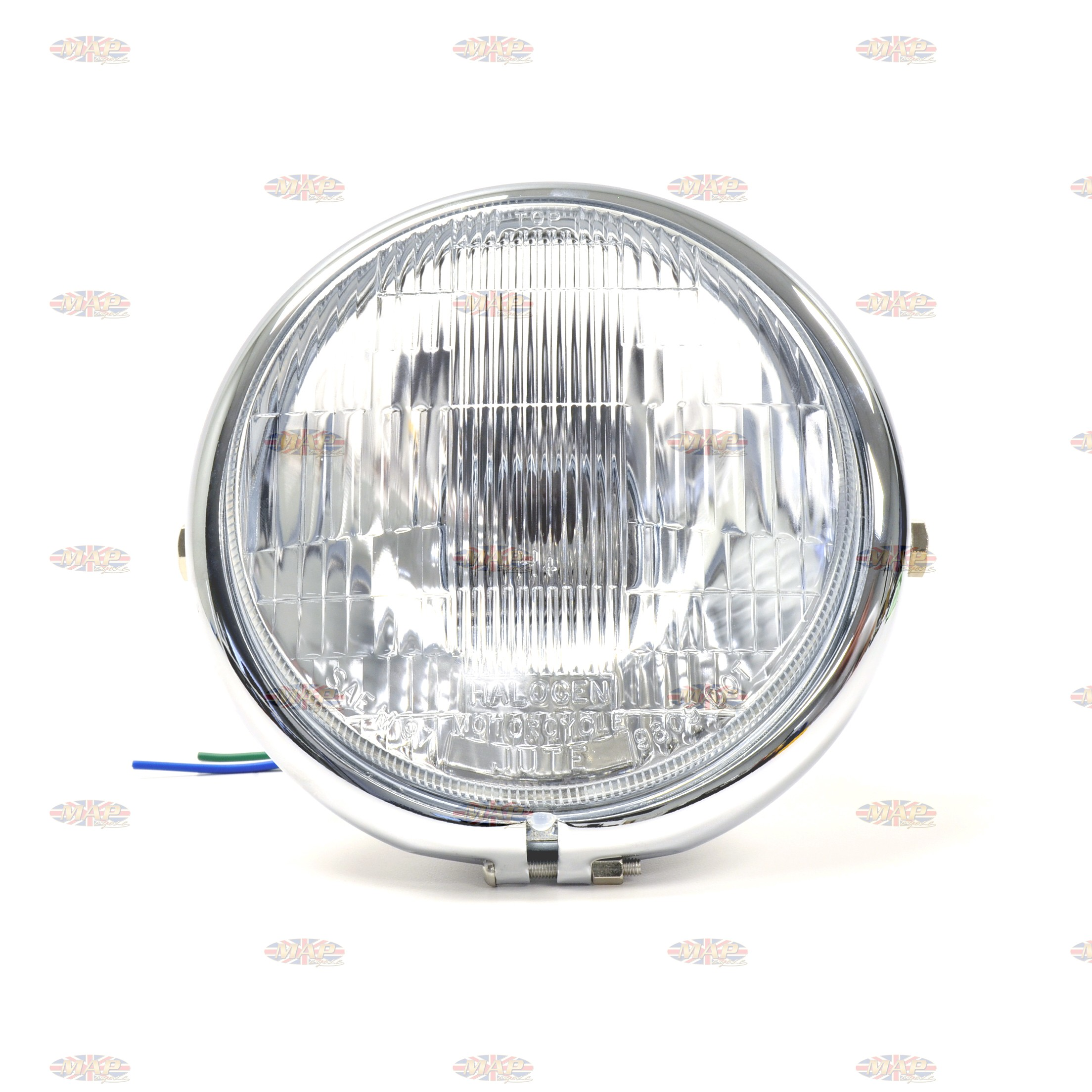 Bates Style 5 75 Chrome Side Mount Headlight With Blue Dot Beam Indicator