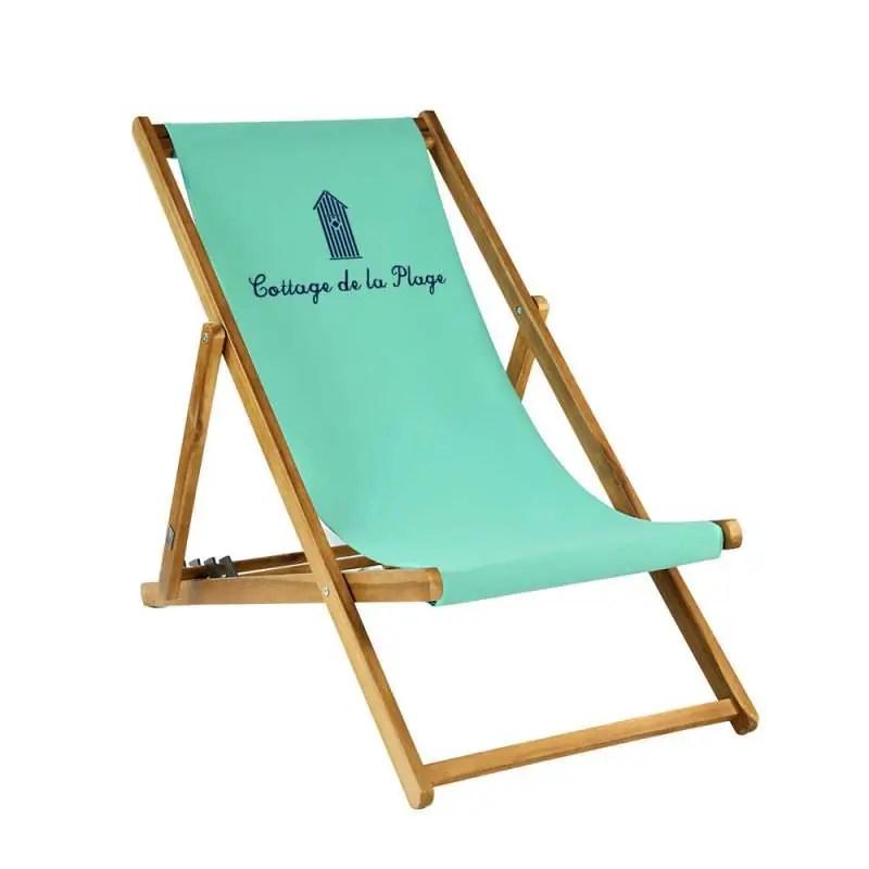 transat taille adulte cabane de plage sur toile unie turquoise