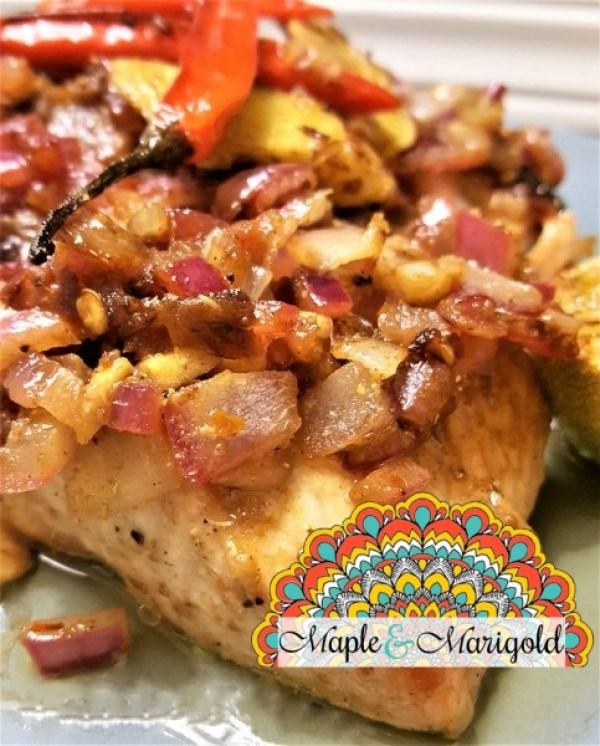 Salmon with Indian Masala onions   Easy Salmon Recipe   Seafood   Canada 150 recipes   Maple and Marigold