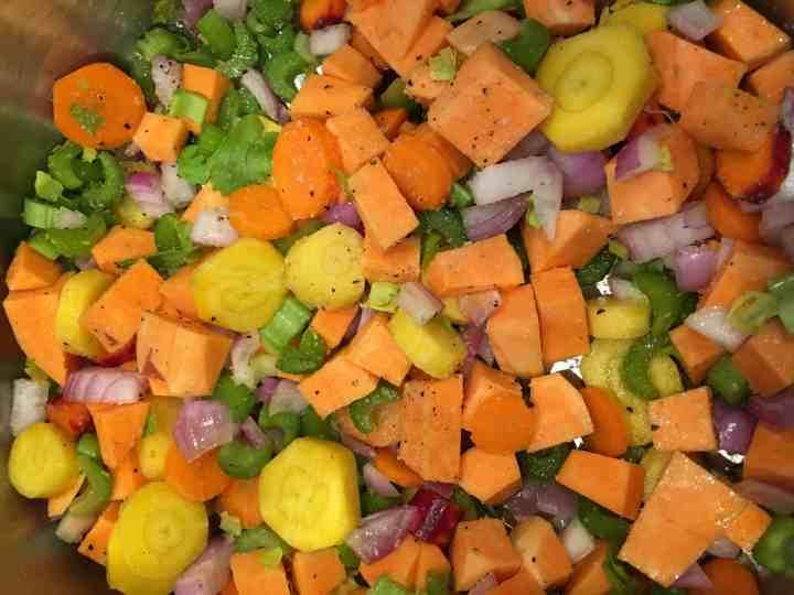 diced veggies for farm share soup