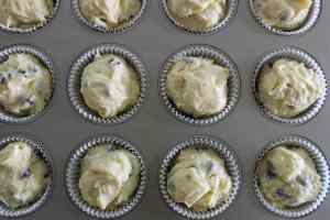 Lemon Chocolate Chip Muffins - Batter in Pan