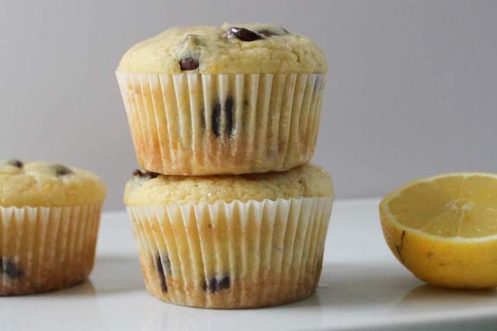 Lemon Chocolate Chip Muffins - On White Tray