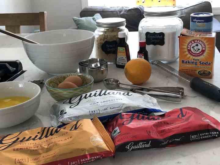ingredients for orange chocolate chip cookies