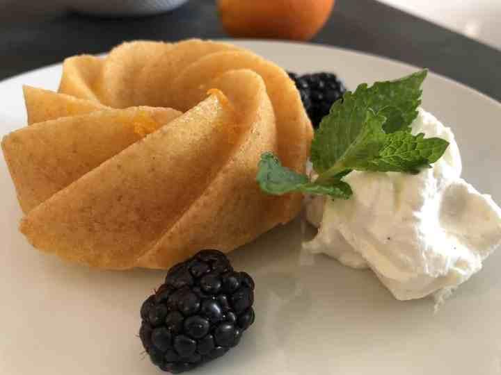 Orange Bundtlette with Whipped Cream and BlackberriesJPG
