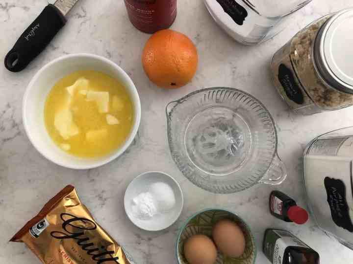 ingredients chocolate orange chocolate chip cookies bird's eye view