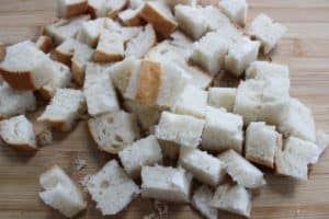 cubed bread for croutons