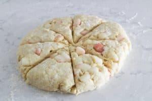 peach scones cut into wedges