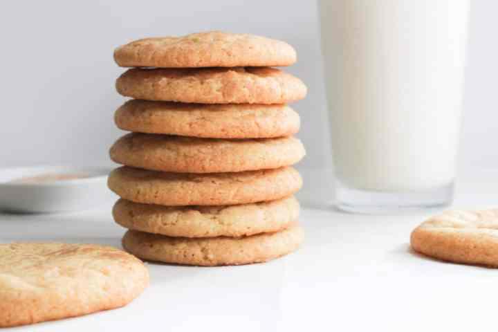 stack of snickerdoodles with milk