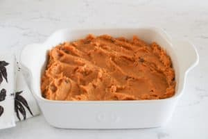 sweet potato souffle ready to bake