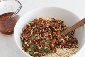 adding pecans maple pecan granola
