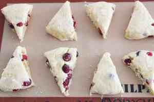 ginger cranberry scones ready for oven