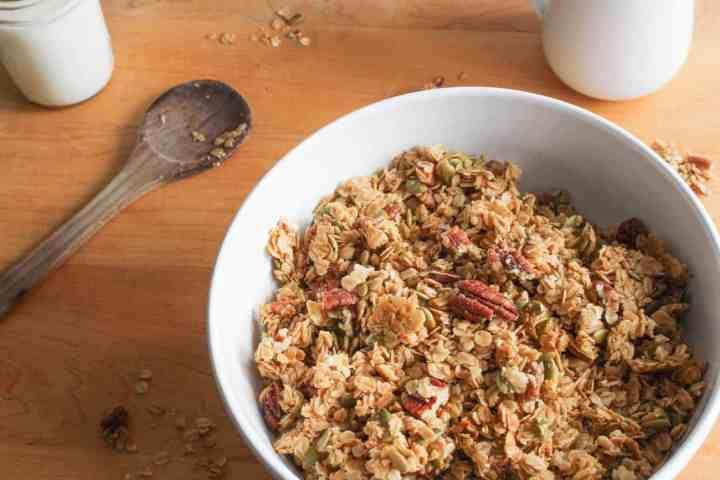 maple pecan granola on maple board