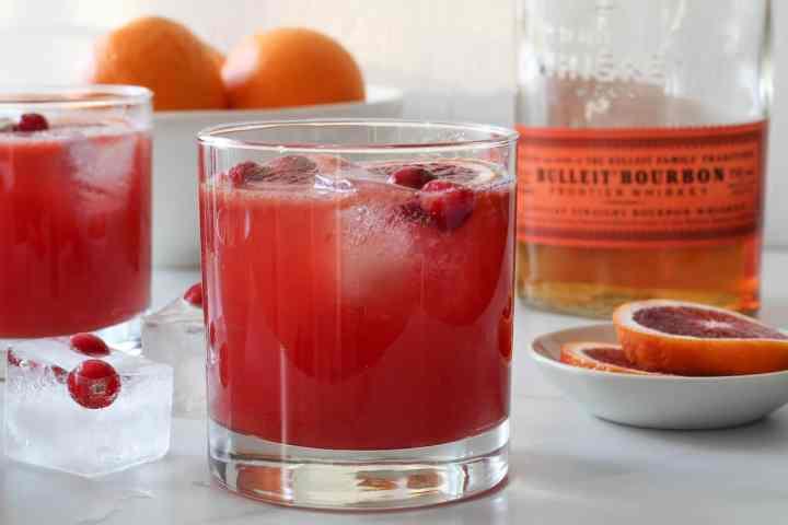 blood orange bourbon smash with oranges