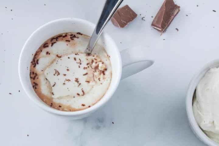 mug of hot chocolate with spoon and chocolate