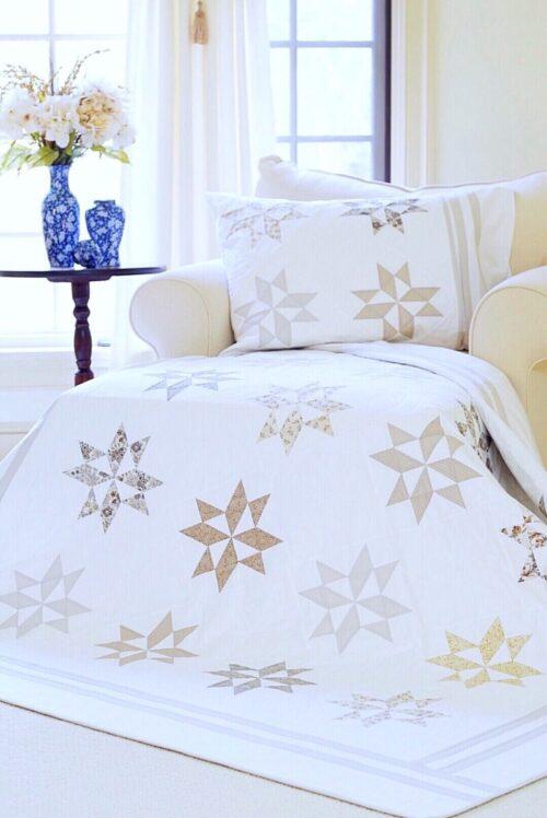 Silver Star Latte Quilt & Pillow Sham Pattern