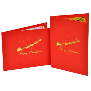 Reindeer & Sledge foiled photo folder