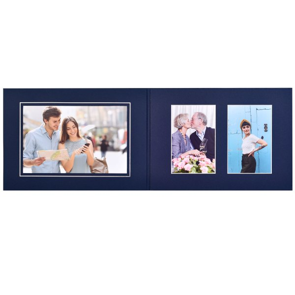 """Maple Double Folder 6"""" x 4"""", 6"""" x 4"""" and 9"""" x 6"""" with silver line/bevel edges Blue"""