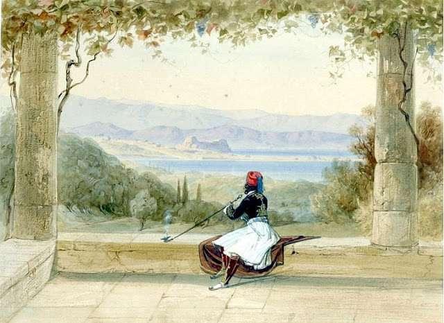 Edward Lear - FIGURE ON A BALCONY OVERLOOKING THE CITADEL, CORFU