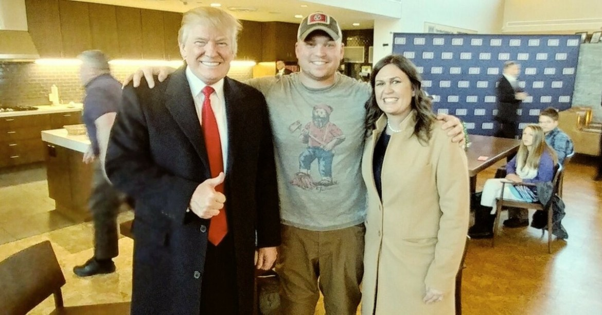 President-Donald-Trump-Sgt.-Franz-Walkup-and-Sarah-Huckabee-Sanders
