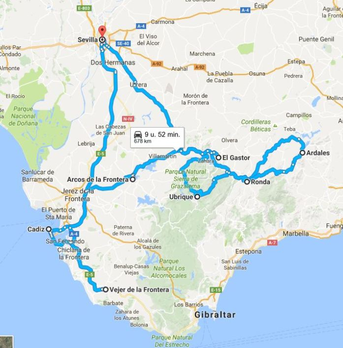 Route road trip Andalusia, Spain - Map of Joy