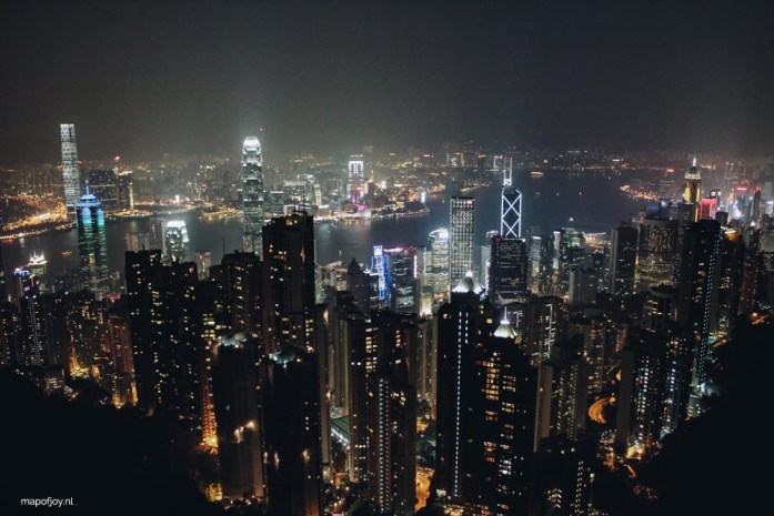The Peak at night, skyline Hong Kong - Map of Joy