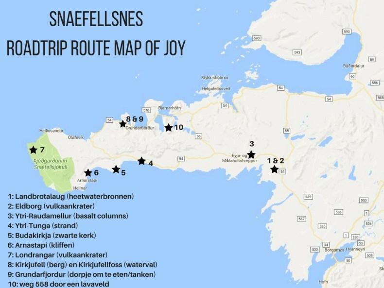 map roadtrip route Snaefellsnes, IJsland - Map of Joy