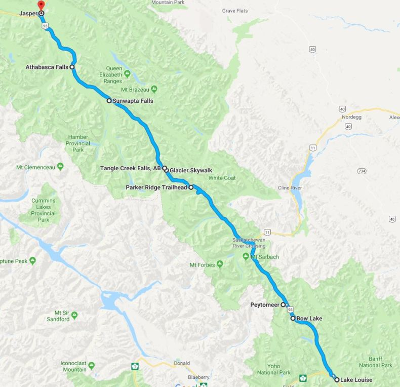Roadtrip route Icefields Parkway, Alberta, Canada - Map of Joy