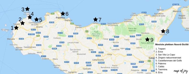 De mooiste plekken van Noord-Sicilië [roadtrip route] plattegrond - Map of Joy