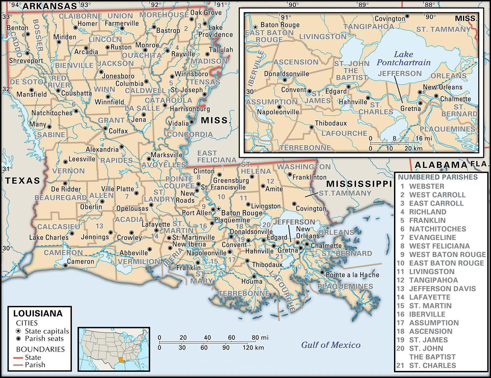 State And Parish Maps Of Louisiana