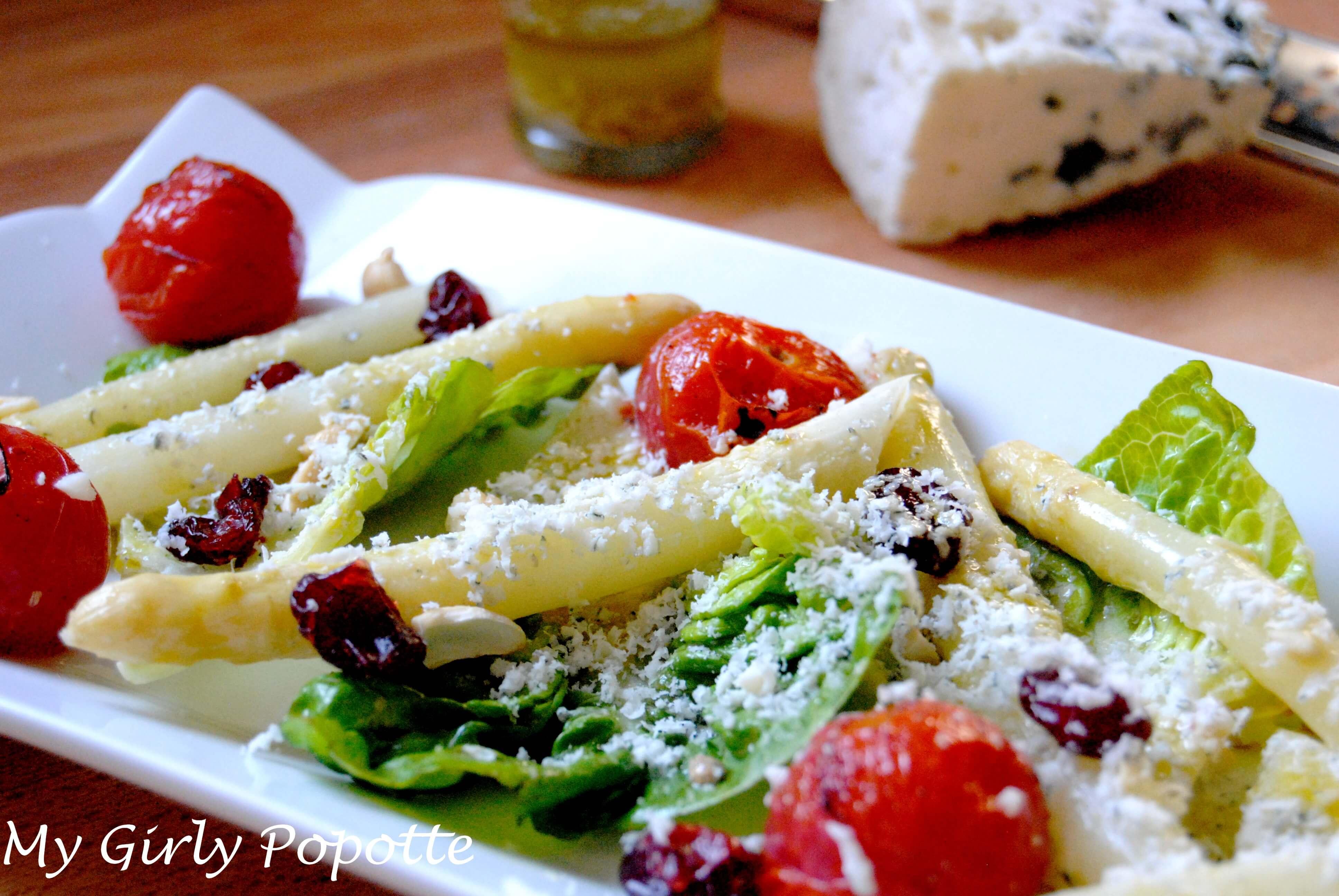 salade asperges roquefort tomates brûlées my girly popotte