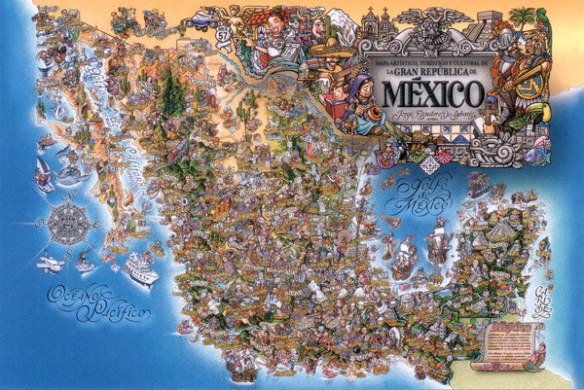 Artistic Cultural and Tourist Mexico Map   Mexico     mappery Fullsize Artistic Cultural and Tourist Mexico Map