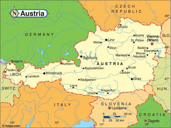 Резултат с изображение за austria map