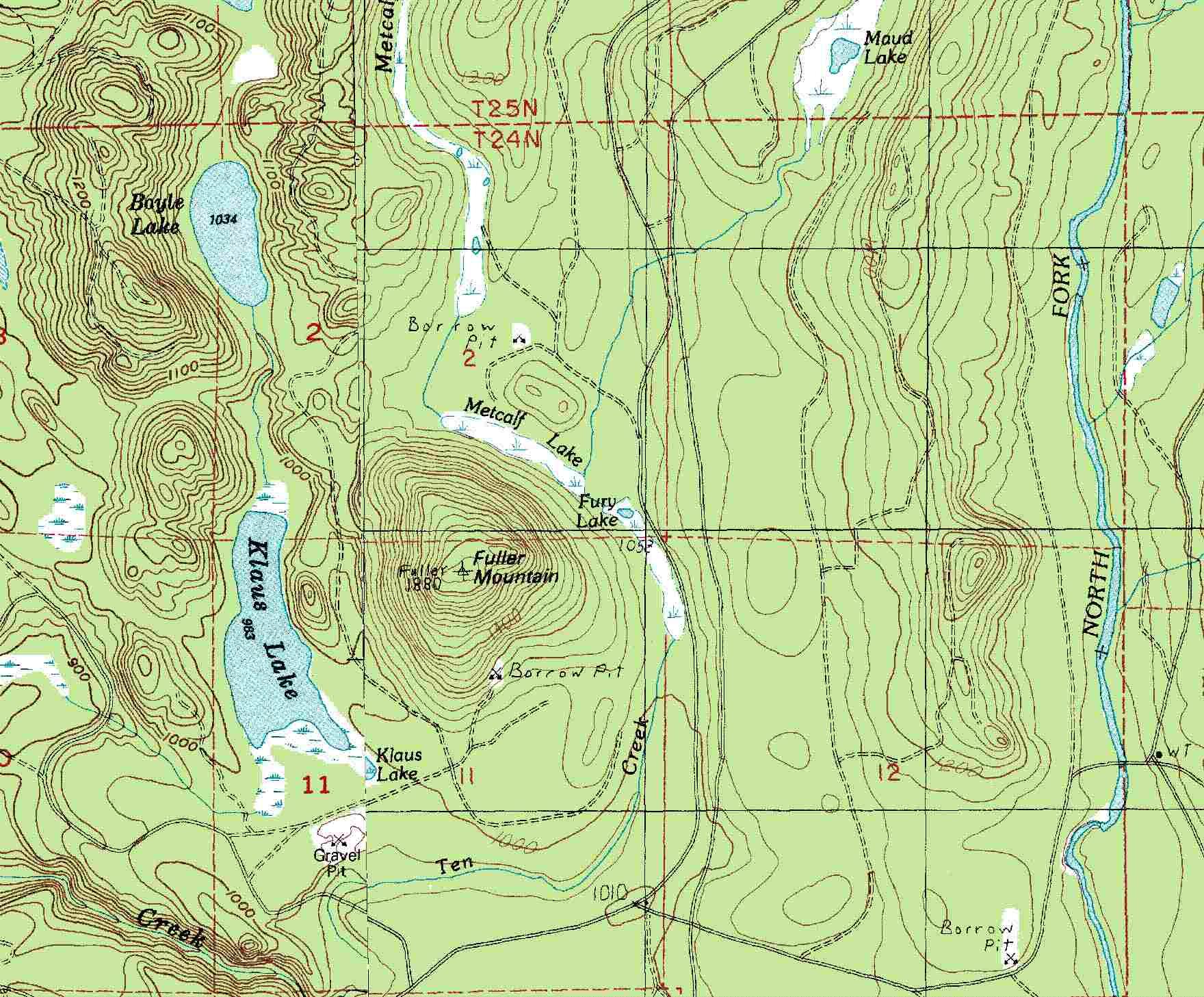 Fuller Mountain Topo Map