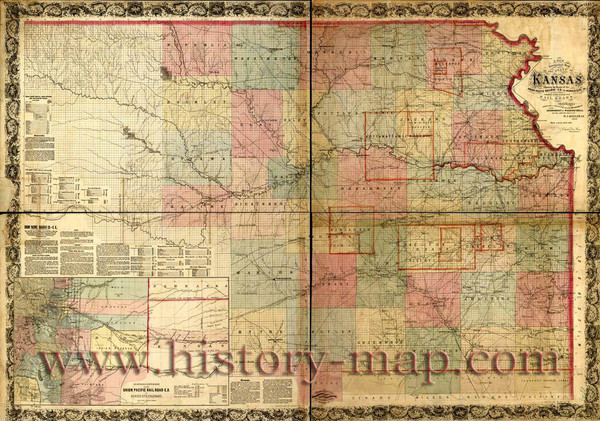 Kansas Railroad Map 1867   Kansas     mappery Fullsize Kansas Railroad Map 1867