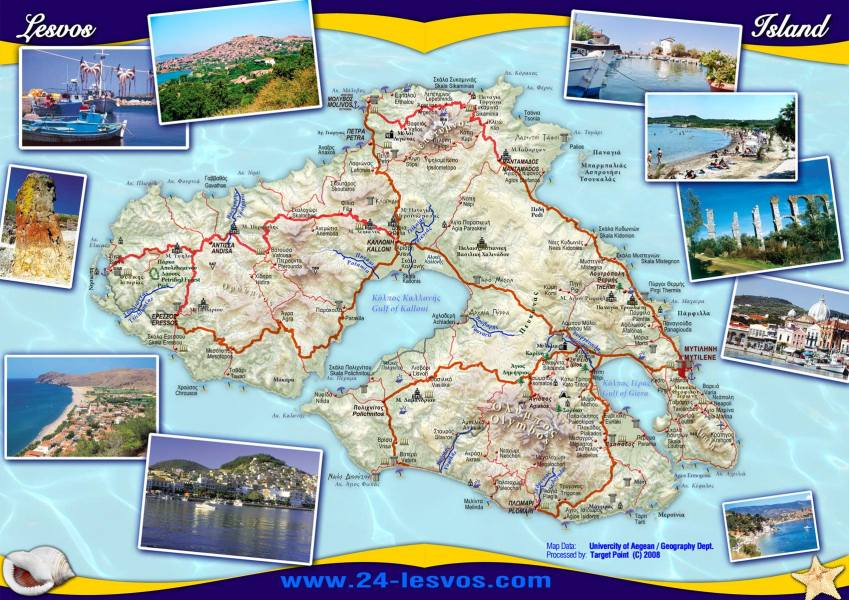 Lesvos Lesbos Tourist Map   Lesvos Greece     mappery