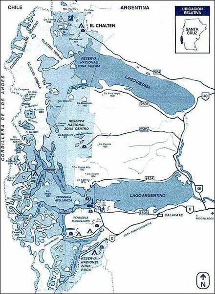 Los Glacieres Park Map Los Glacieres National Park