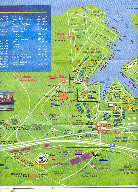 Pearl Harbor Hawaii Tourist Map