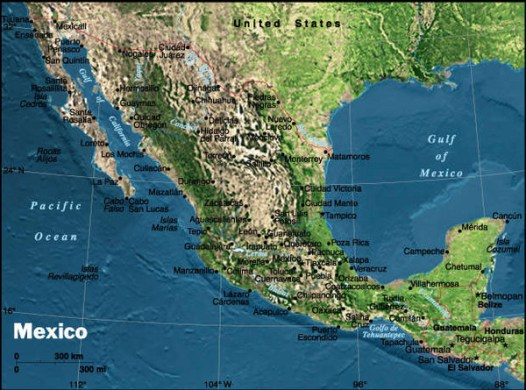 Physical Mexico Map   Mexico     mappery Fullsize Physical Mexico Map