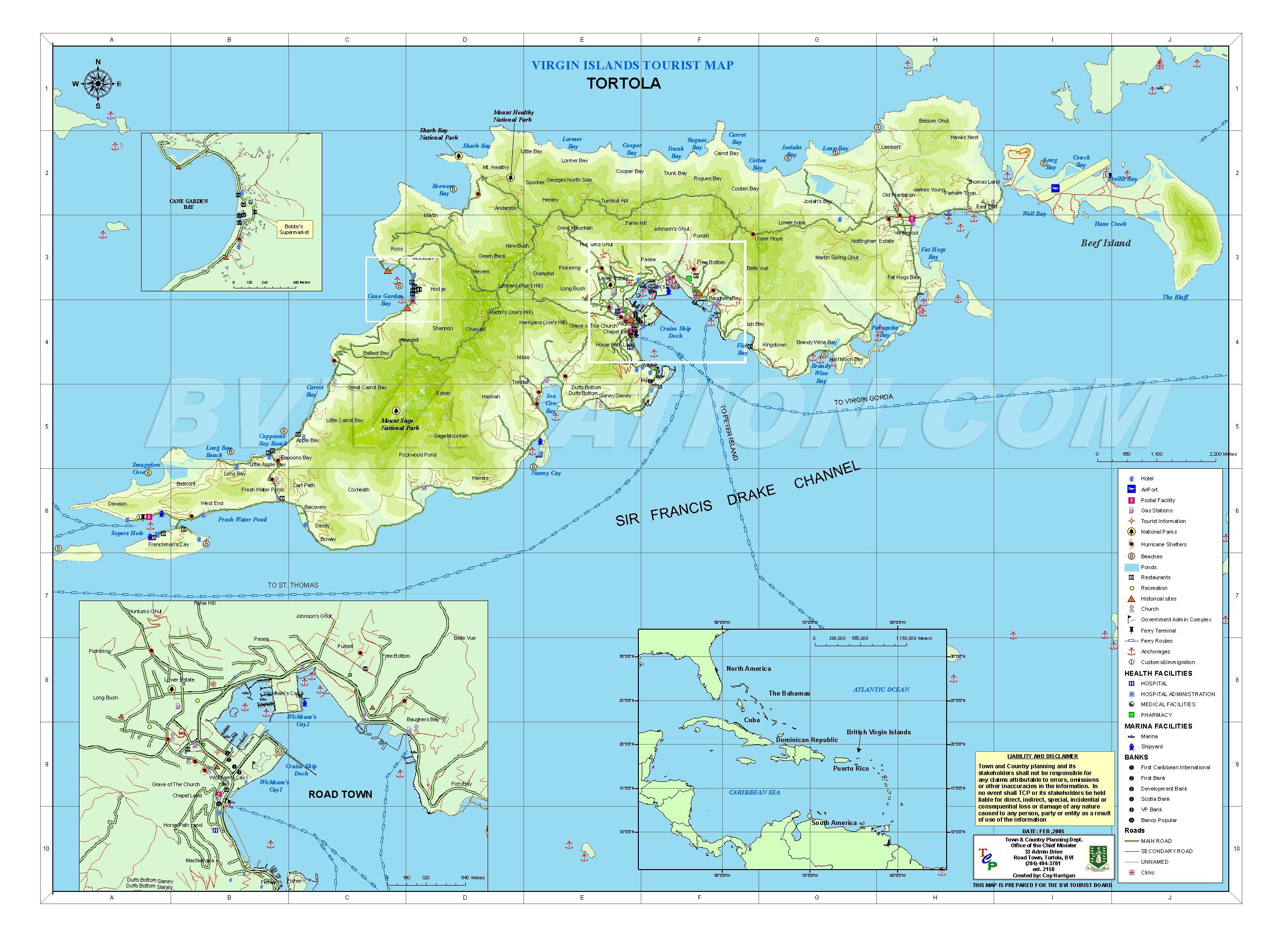 Tortola British Islands Tourist Map