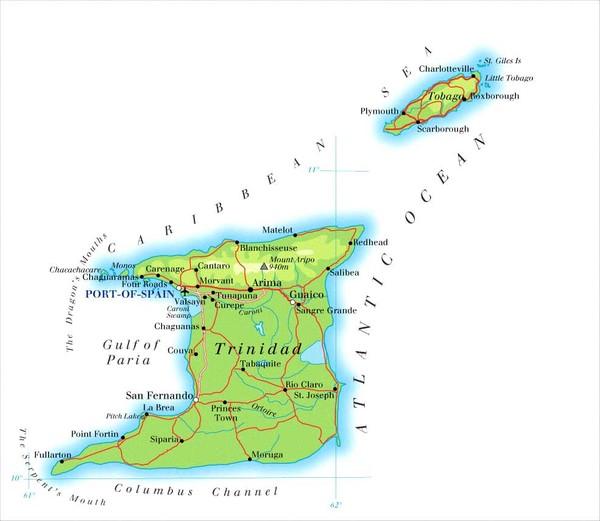 Resultado de imagen para Trinidad & Tobago map