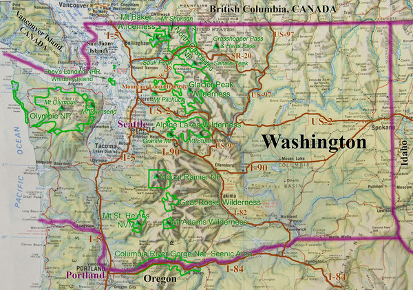 Washington State Road and Recreation Map   Washington State     mappery Fullsize Washington State Road and Recreation Map
